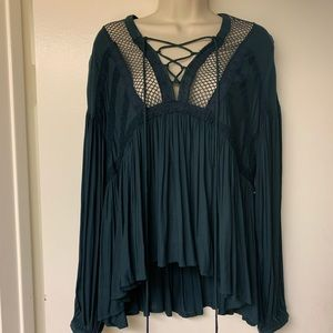 Teal Free People Lace Up Blouse